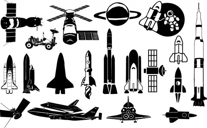 Starship Silhouettes Vector