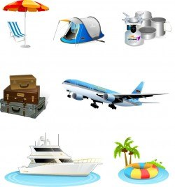 Tourism travel icon material Vector