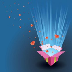 Valentine Card Hearts Floating Out of a Box